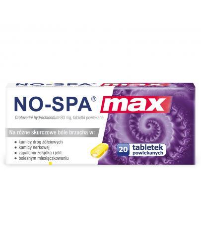 No-Spa Max 80 mg na silny ból brzucha i skurcze 20 tabletek powlekanych