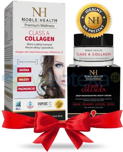 Noble Health Class A Collagen kolagen 90 tabletek + Class A Collagen krem głęboko regenerujący na noc 50 ml