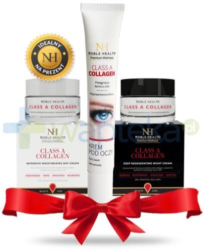 Noble Health Class A Collagen Krem intensywnie nawilżający na dzień 50 ml + Krem głęboko regenerujący na noc 50 ml + Krem pod oczy przeciwzmarszczkowy pielęgnacja konturu oka 25 g [ZESTAW]