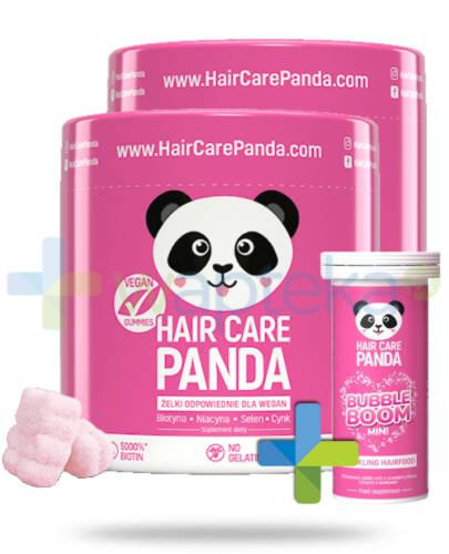 Noble Health Hair Care Panda witaminy na włosy w żelkach 2x300g  [DWUPAK] + Bubble Boom Mini [GRATIS]
