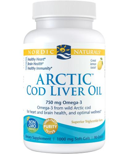 Nordic Naturals Arctic Cod Liver Oil Omega-3 675mg smak cytrynowy 90 kapsułek