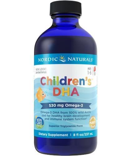 Nordic Naturals Childrens DHA Omega-3 525mg dla dzieci 1+ smak truskawkowy 237 ml