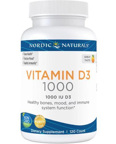 Nordic Naturals Vitamin D3 1000j.m. smak pomarańczowy 120 kapsułek