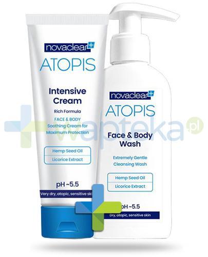 NovaClear Atopis Face&Body Wash płyn do mycia twarzy i ciała 500 ml + NovaClear Atopis Intensive Cream krem natłuszczający do twarzy i ciała 100 ml [ZESTAW]