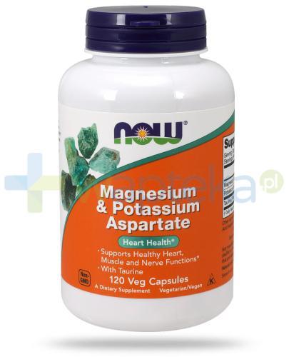 NOW Food Magnesium & Potassium Aspartate with taurine 120 kapsułek