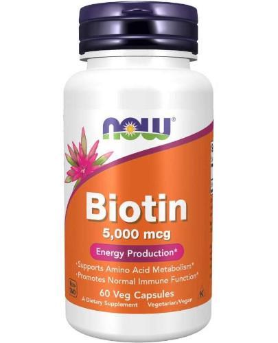 NOW Foods Biotin biotyna 5000 mcg 60 kapsułek
