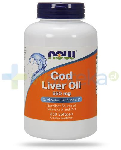 NOW Foods Cod Liver Oil 650 mg tran z dorsza 250 kapsułek