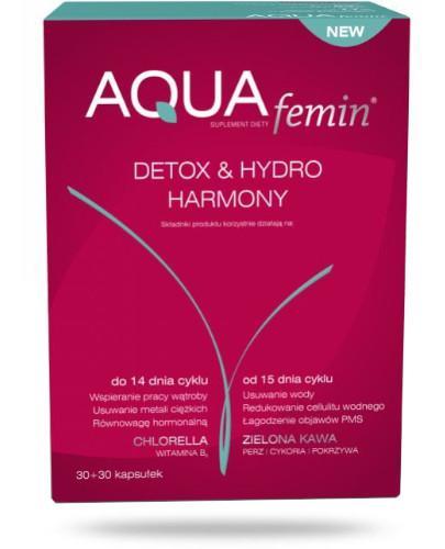NutroPharma AQUAfemin Detox&Hydro Harmony chlorella 30 kapsułek + zielona kawa 30 kapsułek