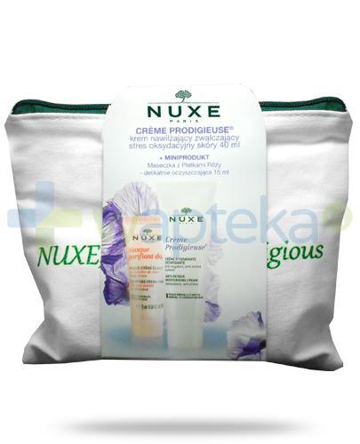 Nuxe Creme Prodigieuse krem nawilżający zwalczający stres oksydacyjny skóry 40 ml + maseczka z płatkami róży delikatnie oczyszczająca 15 ml [ZESTAW]