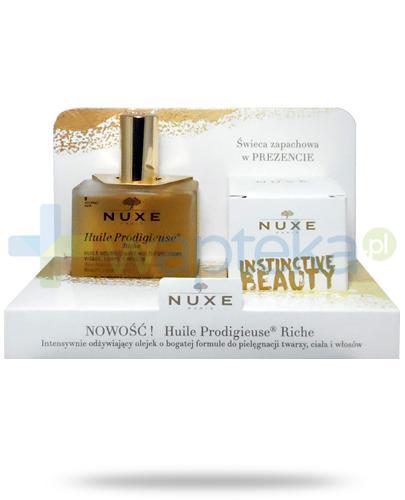 Nuxe Huile Prodigieuse Riche wielofunkcyjny odżywiający olejek do twarzy, ciała i włosów 100 ml + świeczka zapachowa 70 g [ZESTAW]+ Nuxe Men wielofunkcyjny żel pod prysznic 200 ml [GRATIS]