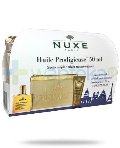 Nuxe Huile Prodigieuse ZESTAW suchy olejek 50 ml + olejek pod prysznic 30 ml + kosmetyczka