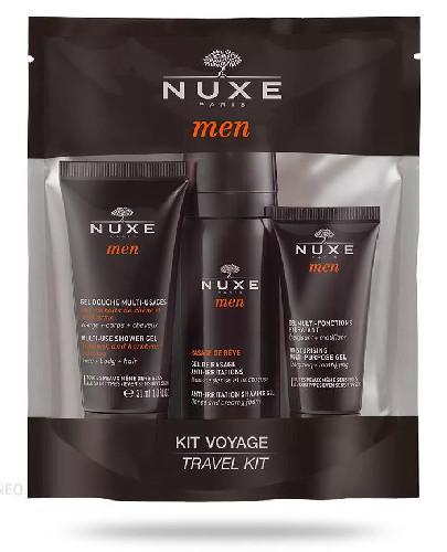 Nuxe Men Travel Kit, żel pod prysznic 30 ml + żel do golenia 35 ml + nawilżający żel do twarzy 15 ml [ZESTAW]
