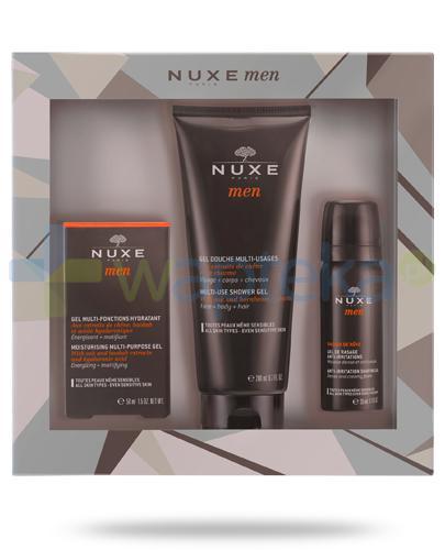 Nuxe Men wielofunkcyjny żel nawilżający 50 ml + wielofunkcyjny żel pod prysznic 200 ml + żel do golenia 35 ml [ZESTAW] + Nuxe Płatki róży woda micelarna 100 ml [GRATIS]