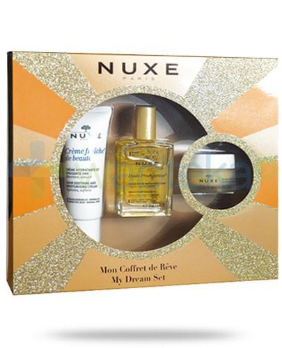 Nuxe My Dream ZESTAW Creme Fraiche de beaute krem nawilżająco kojący 30 ml + Nuxe Huile Prodigieuse suchy olejek 30 ml + Nuxe Reve de Miel balsam ultraodżywczy do ust 15 g