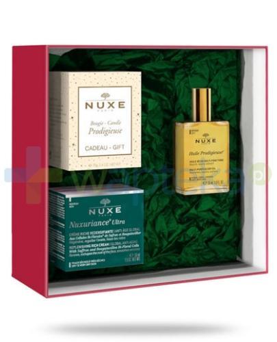 Nuxe Nuxuriance Ultra krem przeciwstarzeniowy do skóry suchej 50 ml + Huile Prodigieuse suchy olejek 30 ml + świeczka 70 g [ZESTAW] + Nuxe Merveillance Nuit krem przeciwzmarszczkowy na noc 50 ml [TESTER]