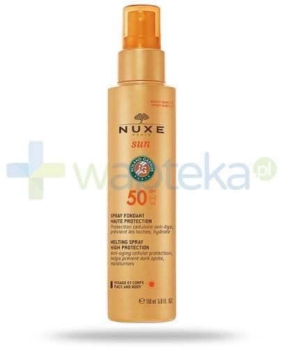 Nuxe Sun mleczko SPF50 do opalania twarzy i ciała w sprayu 150 ml+ Nuxe Men wielofunkcyjny żel pod prysznic 200 ml [GRATIS]