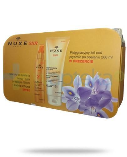 Nuxe Sun mleczko SPF20 do opalania twarzy i ciała 150 ml + żel pielęgnacyjny pod prysznic po opalaniu 200 ml + kosmetyczka [ZESTAW]