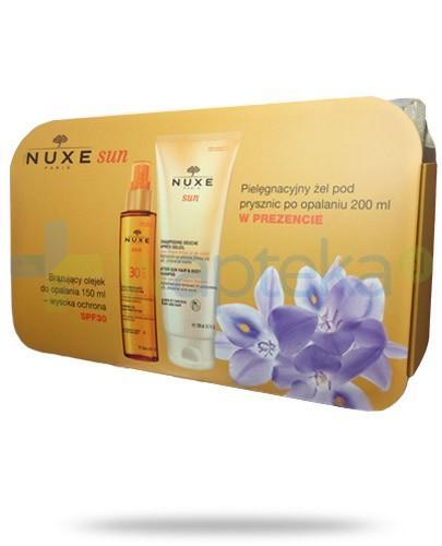 Nuxe Sun ZESTAW olejek brązujący SPF30 do opalania 150 ml + żel pielęgnacyjny pod prysznic po opalaniu 200 ml + kosmetyczka
