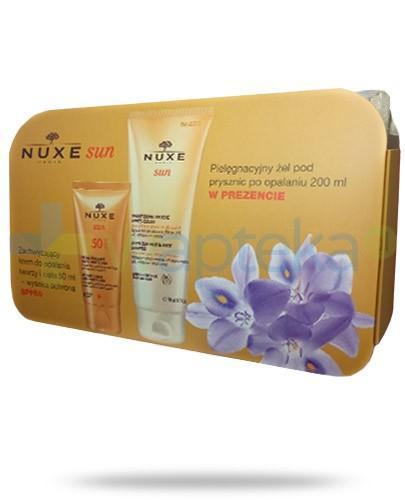 Nuxe Sun ZESTAW zachwycający krem SPF50 do opalania twarzy i ciała 50 ml + żel pielęgnacyjny pod prysznic po opalaniu 200 ml + kosmetyczka