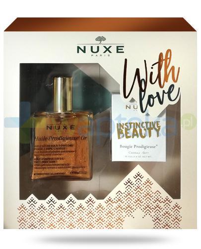 Nuxe With Love, Huile Prodigieuse OR wielofunkcyjny suchy olejek 100 ml + świeczka 70 g [ZESTAW] + Nuxe Płatki róży woda micelarna 100 ml [GRATIS]
