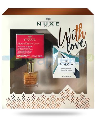 Nuxe With Love, Merveillance Expert krem liftingujący do skóry suchej 50 ml + olejek 10 ml + świeczka 70 g [ZESTAW] + Nuxe Płatki róży woda micelarna 100 ml [GRATIS]