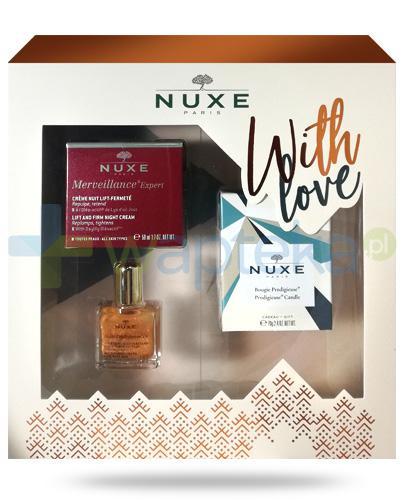 Nuxe With Love, Merveillance Expert krem liftingujący na noc 50 ml + olejek 10 ml + świeczka 70 g [ZESTAW] + Nuxe Płatki róży woda micelarna 100 ml [GRATIS]