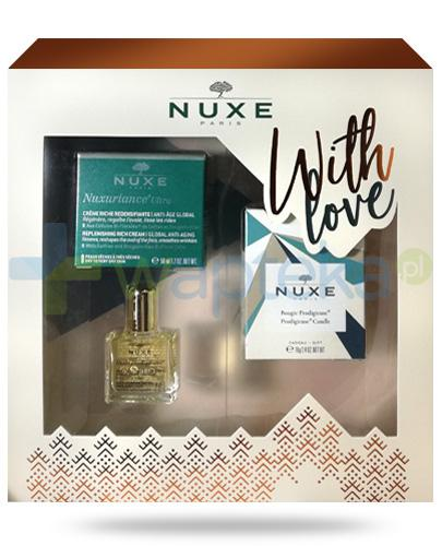 Nuxe With Love, Nuxuriance Ultra krem przeciwstarzeniowy do skóry suchej 50 ml + olejek 10 ml + świeczka 70 g [ZESTAW] + Nuxe Płatki róży woda micelarna 100 ml [GRATIS]