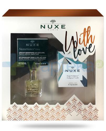 Nuxe With Love, Nuxuriance Ultra krem przeciwstarzeniowy na noc 50 ml + olejek 10 ml + świeczka 70 g [ZESTAW] + Nuxe Płatki róży woda micelarna 100 ml [GRATIS]