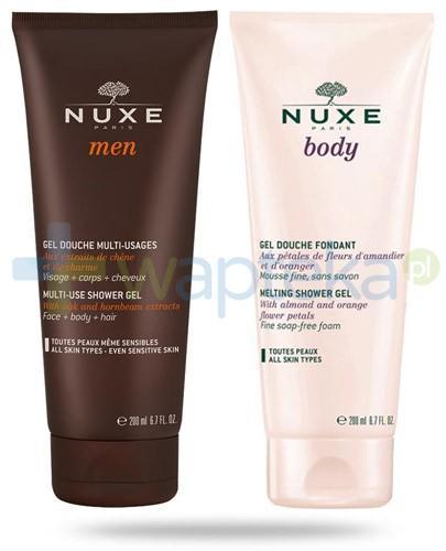Nuxe ZESTAW Nuxe Men żel wielofunkcyjny pod prysznic 200 ml + Nuxe Body żel pod prysznic 200 ml