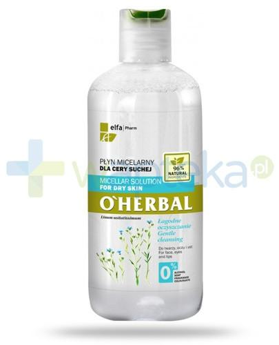 O'Herbal płyn micelarny łagodnie oczyszczający dla cery suchej z ekstraktem z lnu 250 ml Elfa Pharm
