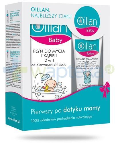 Oillan Baby płyn do mycia i kąpieli 2w1 400 ml + krem pielęgnacyjny do twarzy i ciała 75 ml [ZESTAW]