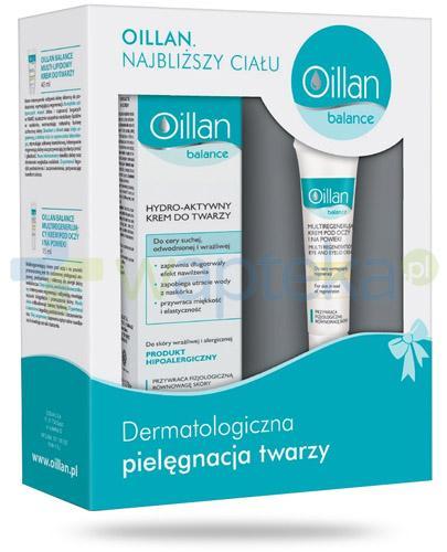Oillan Balance hydro-lipidowy krem przeciwzmarszczkowy 50 ml + przeciwzmarszczkowy krem pod oczy 15 ml [ZESTAW]