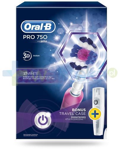 Oral-B Pro 750 3D White szczoteczka elektryczna 1 sztuka + etui [ZESTAW]