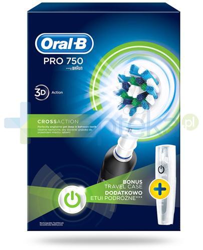 Oral-B Pro 750 CrossAction szczoteczka elektryczna 1 sztuka + etui [ZESTAW]