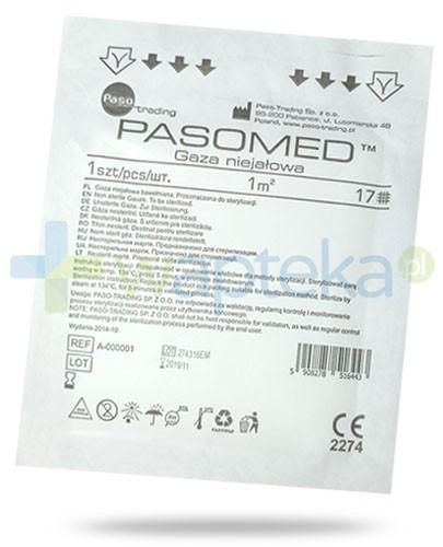 PasoMed gaza opatrunkowa niejałowa 17 nitek 1m2 1 sztuka