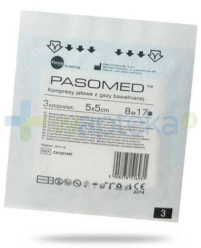 PasoMed kompresy jałowe z gazy bawełnianej 17 nitek 12 warstw 5x 5cm 3 sztuki