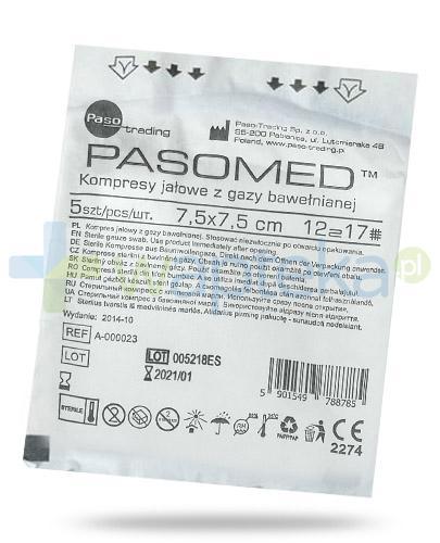 PasoMed kompresy jałowe z gazy bawełnianej 17 nitek 12 warstw 7,5x 7,5cm 5 sztuk