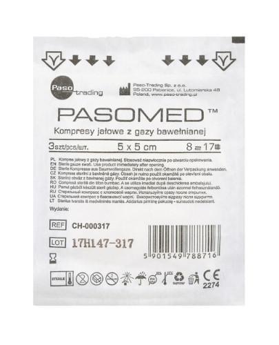 PasoMed kompresy jałowe z gazy bawełnianej 17 nitek 8 warstw 5x 5cm 3 sztuki