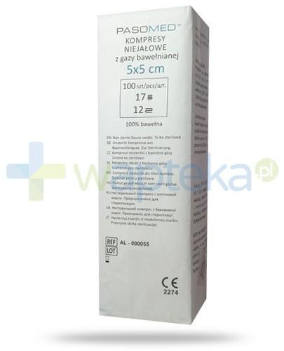 PasoMed kompresy niejałowe z gazy bawełnianej 17 nitkowe 12 warstw 5x 5cm 100 sztuk