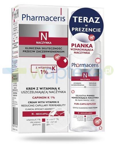 Pharmaceris N Capinon K 1% krem z witaminą K uszczelniającą naczynka 30 ml + Pharmaceris N Puri-CapiliqMusse delikatna pianka wzmacniająca naczynka 50 ml [ZESTAW]