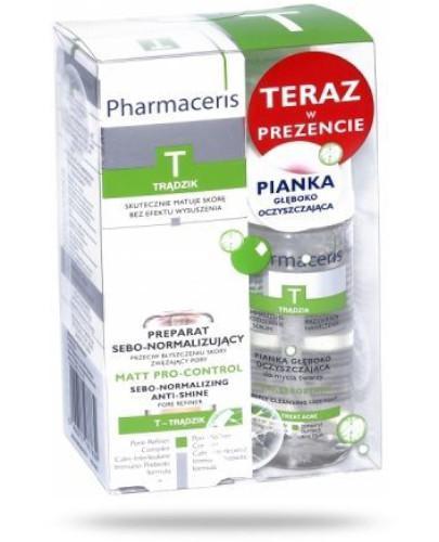 Pharmaceris T Matt Pro-Control preparat sebo-normalizujący 30 ml + Pharmaceris T Puri-Sebostatic pianka głęboko oczyszczająca do mycia twarzy 50 ml [EDYCJA LIMITOWANA]