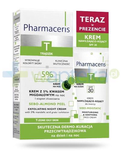 Pharmaceris T Sebo-Almond Peel krem z 5% kwasem migdałowym na noc 1 stopień złuszczania 50 ml + Sebo-Moistatic krem nawilżająco-kojący do twarzy SPF30 20 ml [ZESTAW]
