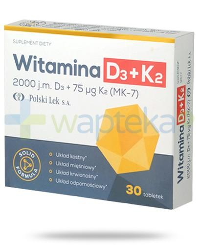 Polski-Lek witamina D3 + K2 MK7 2000j.m. + 75µg 30 tabletek