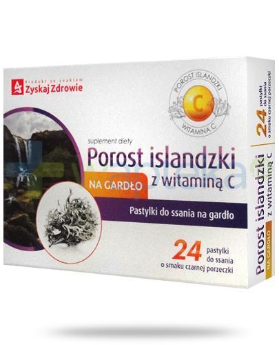 Porost islandzki z witaminą C pastylki do ssania na gardło o smaku czarnej porzeczki 24 sztuki