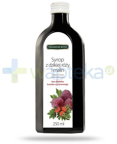 Premium Rosa syrop z dzikiej róży i malin o niskiej zawartości cukru 250 ml