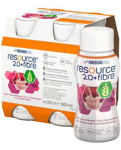 Resource 2.0 + Fibre preparat odżywczy w płynie, smak owoców leśnych, 4x 200 ml [Data ważności 23-12-2018]