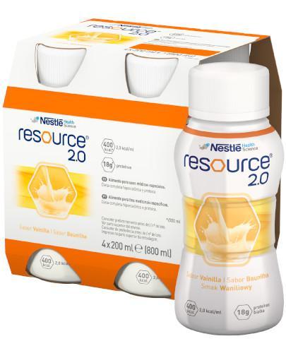 Resource 2.0 preparat odżywczy w płynie, smak waniliowy, 4x 200 ml [Data ważności 26-04-2019]