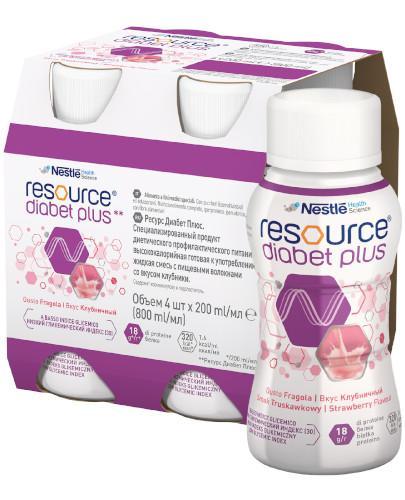 Resource Diabet Plus preparat odżywczy w płynie, smak truskawkowy, 4x 200 ml