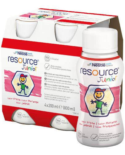Resource Junior preparat odżywczy w płynie dla dzieci 1+, smak truskawkowy, 4x 200 ml