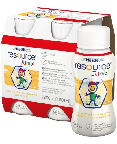 Resource Junior preparat odżywczy w płynie dla dzieci 1+, smak waniliowy, 4x 200 ml